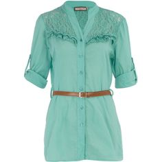 Mint lace trim belted shirt ($17) ❤ liked on Polyvore featuring tops, blouses, shirts, dresses, women, roll top, longline shirt, belted shirt, green shirt and belted top