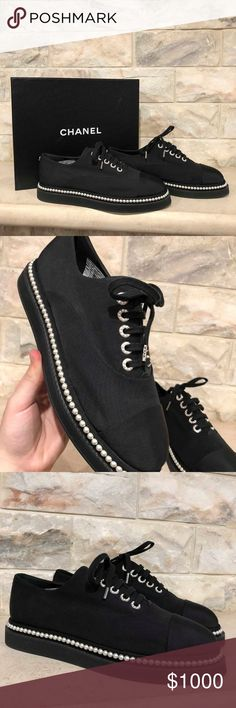 Chanel 17P Black Grosgrain Pearl CC Logo Lace Up F Chanel 17P Black Grosgrain Pearl CC Logo Lace Up Flat Trainer Sneaker 39.5  ********** Chanel **********  Brand: Chanel Size: 39.5 (know your Chanel size)  Name: Trainer Color: Black Style: 17P Style#: G32357X05912 Material: Grosgrain Retail: $1025+tax Lace up tie front Chanel CC back pearl logo Black grosgrain material Black grosgrain cap toe Pearl trim around perimeter Pearl detail lace up rings Brand new in box, comes with original box…