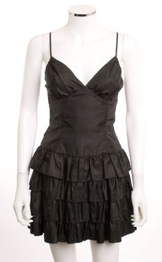NWOT BETSEY JOHNSON EVENING BUSTIER FOUR LAYER TAFFETA SATIN BLACK DRESS SZ 8