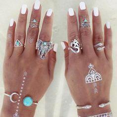 8pcs/Pack Boho Retro Elephant Snake Blue Stone Rings Lucky Stackable Midi Rings Set of Rings for Women Party Free Shipping