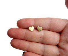 Tiny Brass Heart Studs with Sterling Silver Posts by RachelPfefferDesigns