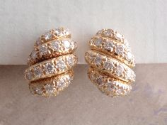 Fred of Paris Diamond Earrings 18K Yellow Gold Omega Post Clip Vintage #FredofParis