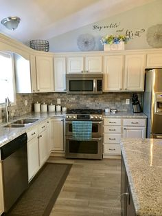 New Island In HomeCrest Heritage Maple Anchor Stain And All New Andino  White Granite Counters Added