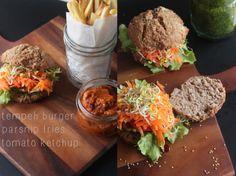 Vegan Tempeh Burger with Basil Pesto + Parsnip Fries! heartybite.blogspot.com