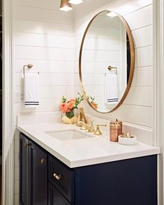 Navy cabinets and gold touches are always a good idea PC: Care Products Cream Mask Scrub Scrub Treatment Concern Navy Bathroom, Bathroom Renos, Bathroom Interior, Small Bathroom, Bathroom Ideas, Gold Mirror Bathroom, Disney Bathroom, Bathroom Niche, Bathroom Updates