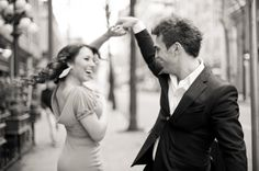 Fun engagement photo. Dancing in the streets. Matt Kennedy - Portfolio Photo By www.mattkennedy.ca