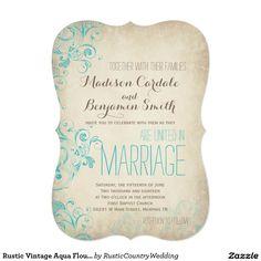 Rustic Vintage Aqua Flourish Wedding Invitations