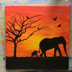Elephant Sunset Painting Canvas Decor Animals Silhouette