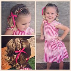 """""""Today we did a twisted waterfall into a French braid with a accent ribbon headband and curls... Wow that was a mouthful! #tinzbobenz #30dnbday19 #30DaysNewBraids #cutegirlshairstyles #princesshair #toddlerhair #vegasliving #braid still loving this challenge and all the fun new styles it pushes me to try!! Thanks again @hair_by_lori !!"""" Photo taken by @ashley_cardon on Instagram, pinned via the InstaPin iOS App! http://www.instapinapp.com (06/19/2015)"""