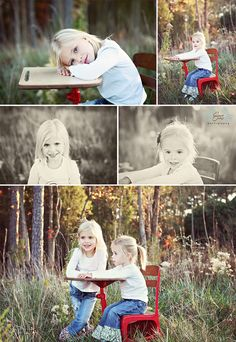 This adorable Back to School shoot makes me want to paint our cute vintage green desk red! Sibling Photography, School Photography, Autumn Photography, Love Photography, Children Photography, Photography Studios, First Day Of School Pictures, 1st Day Of School, School Photos