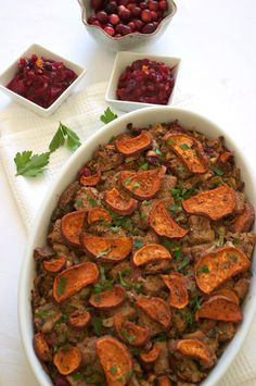 Stuffing with Sweet Potatoes and Cranberries | 25 Delicious Stuffing Recipes For Thanksgiving