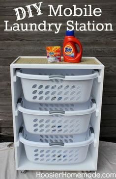 DIY Mobile Laundry Station ~ I could see several of these in a laundry room. One for dirty laundry and one for clean. Organization Station, Organization Hacks, Organizing Toys, Bathroom Organization, Organizing Ideas, Clothing Organization, Top Of Dresser Organization, Bathroom Storage, Roommate Organization