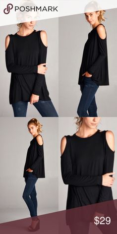 ❣️NEW❣️ Black Casual Cold Shoulder Essential Top The perfect essential black top with cut out shoulders! So easy to throw on and for layering this season! Brand new! Available in sizes S M L! Tops Tees - Long Sleeve