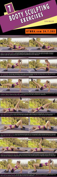 Butt lifting  toning #workout challenge. Shape up your booty for #summer and beyond! Click on the image to see the moves in GIF form. #fitness #exercise #weightloss #health