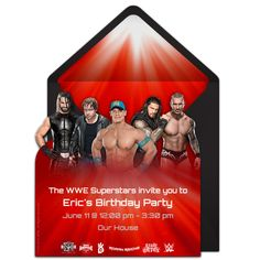 Customizable, free WWE Group online invitations. Easy to personalize and send for a WWE birthday party. #punchbowl