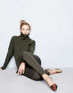 J.Crew women's cambridge cable turtleneck sweater, pixie pant and Elsie crackled hologram d'Orsay pumps.  LOVE the olive pants and the hologram shoes!!!!