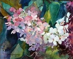 Autumn Hydrangia by Yvonne Hemingway Watercolor ~  x