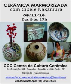 Dia 08/11/2016 Workshop de Cerâmica Marmorizada na Zona Norte - CCC Centro de Cultura Cerâmica Agora com novo formato: em apenas 1 dia com modelagem livre. Informações aqui no Inbox ou  e-mail cibelemsnakamura@hotmail.com ou  Celular/WhatsApp : 11 99684-0332 https://www.facebook.com/centrodeculturaceramica/?pnref=lhc