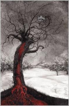 Black & red tree