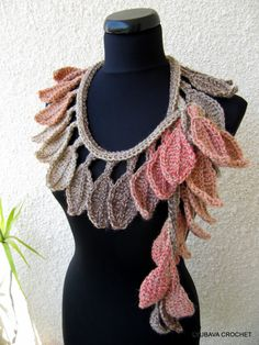 "Crochet Pattern Scarf Lariat ""Autumn Leaf Fall"", Trendy Crochet Autumn Fashion, Instant Download Lyubava Crochet Pattern number 50"