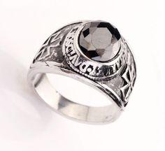 316L Stainless Steel Mens Punk Black CZ Cross Biker Fine Ring Size 8-12 NG in Rings | eBay