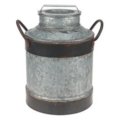 Bringa bit of rustic flair to your farmhouse home decor with Stonebriar's rustic galvanized milk jug. This decorative piece features distressed galvanized metal with rustic rust trim. Milk Cans, Milk Jug, Country Decor, Rustic Decor, Country Style, French Country, Carta Restaurant, Milk Can Decor, Modern Farmhouse Decor