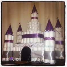 Disney castle diaper cake made by me