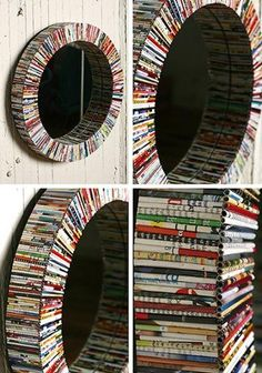 mirror + recycled magazines.  i could see this application in a lot of ways as well