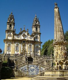 Nossa Senhora dos Remédios, Lamego, Portugal. It takes effort to reach this Baroque church at the top of an exquisite granite staircase with 686 steps.You'll want to pause to admire the detail work on nine platforms decorated with intricate tiles, fountains, and statues. Construction began in the 18th century but wasn't finished until the early 20th century.Each year, there is a festival that culminates in early Sept. with torchlight procession.