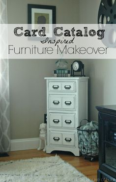 Little House of Four: Library Card Catalog Inspired Furniture Makeover