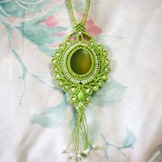 Macrame Necklace with Green Onyx stone cabochon created by Nana Hachi Kyu Jewellery