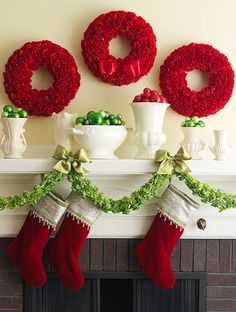 Christmas mantel, red, green, white pottery