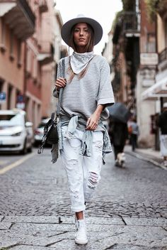 fall outfit, fall layers, casual outfit, comfy outfit, boho outfit, boho chic outfit, festival outfit, athleisure outfit, travel outfit - grey fedora, white bandana, grey sweatshirt, denim jacket, distressed boyfriend jeans, white converse sneakers, black shoulder bag