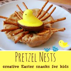 Pretzel Nests -- Creative Easter Snacks for Kids! Fun and easy for kids to make. Plus tasty to eat!