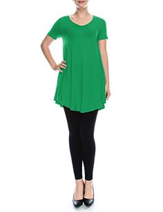 LYCA Womens Short Sleeve VNeck Flare Tunic Kelly Green Medium * Learn more by visiting the image link.Note:It is affiliate link to Amazon.