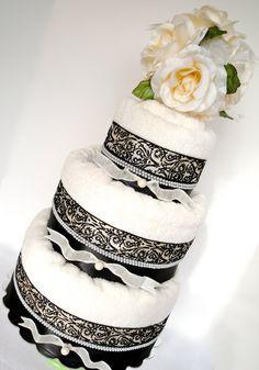 Towel Cake - Cream, Black, Damask & Pearl Wedding Towel Cake - 3 Tier