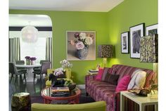 Hardly a wallflower, this wall color screams welcome. Clearly not for the timid, this living space oozes high energy and personality. The preppy pink and green combo infuses a feel that is both modern and fresh.