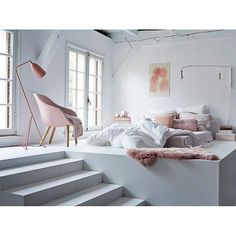 Bedroom design - blush and white