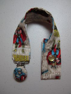 Marvel Comics Pacifier Clip - Captain America and Thor - Baby Boy - Comic Fan - Fabric Pacifier Clip $8.00