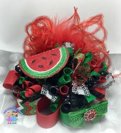 Over the Top Funky Loop Watermelon Bow Funky by BowGrannyBowtique