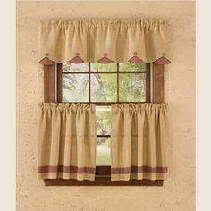 """Burlap & Check RedCollection adds sophisticatedcountry charm featuring a natural soft burlapwithmini red check accents, perfect for your primitiveor countryfarmhouse home decor. Burlap & Check Red Lined Scallop Valance measures 58""""W x 14""""L.100% cotton; lined. Dry cleaning recommended to prevent shrinkage.Coordinating window treatments are available. Complete your country look with aWrought Iron Rod."""