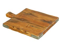 This cheese board is made from reclaimed wood....green is the new black! Also the the riveted corners gives it a industrial-chic look I live for!