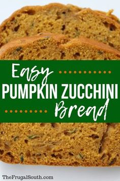 Quick & easy pumpkin zucchini bread with reduced sugar and oil! An easy recipe for extra zucchini that is budget friendly, too. via Recipes cheap Easy Pumpkin Zucchini Bread Recipe Köstliche Desserts, Delicious Desserts, Dessert Recipes, Yummy Food, Healthier Desserts, Pumpkin Zucchini Bread, Zuchinni Bread, Easy Pumpkin Bread, Monkey Bread