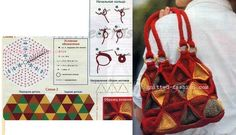 КРАСНАЯ СУМКА ИЗ КВАДРАТОВ крючком,Вязаная мода,вязание крючком схемы,модели описанием,