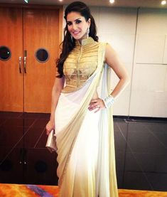 sunny leone look in white & golden ombre saree