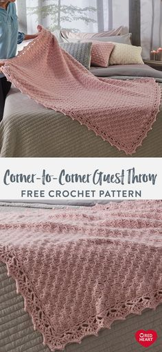 Corner-to-Corner Guest Throw free crochet pattern in Red Heart Dreamy yarn. - New Free Patterns - Corner-to-Corner Guest Throw free crochet pattern in Red Heart Dreamy yarn. This crochet throw prov - Crochet Throw Pattern, C2c Crochet, Manta Crochet, Crochet Borders, Crochet Quilt, Baby Blanket Crochet, Crochet Crafts, Crochet Stitches, Crochet Baby