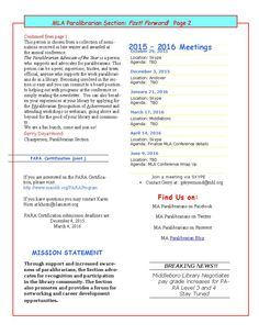 Fast ! Forward! Paralibrarian Newsletter First edition October 2015 Page 2