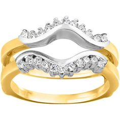 18k Gold 1/4ct TDW Diamond Wave-inspired Classic Ring Guard (G-H, SI2-I1) (18K Two-Tone Gold, Size 12), Women's (chevron)