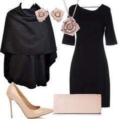Questa proposta per unoccasione elegante è davvero low cost e si compone di un tubino nero da indossare con una mantella avvolgente, sempre nera. Gli accessori sono di un delicato color beige: le scarpe décolleté, la pochette e la parure che si compone di una collana e di orecchini a forma di fiore.