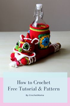 This video demonstrate how to crochet a Chinese Lion Dance Bottle Cozy and the pattern is enclosed in the video. Crochet Panda, Crochet Lion, Crochet Cozy, Free Crochet, Crochet Toys Patterns, Stuffed Toys Patterns, Crochet Dolls, Diy Projects To Try, Crochet Projects